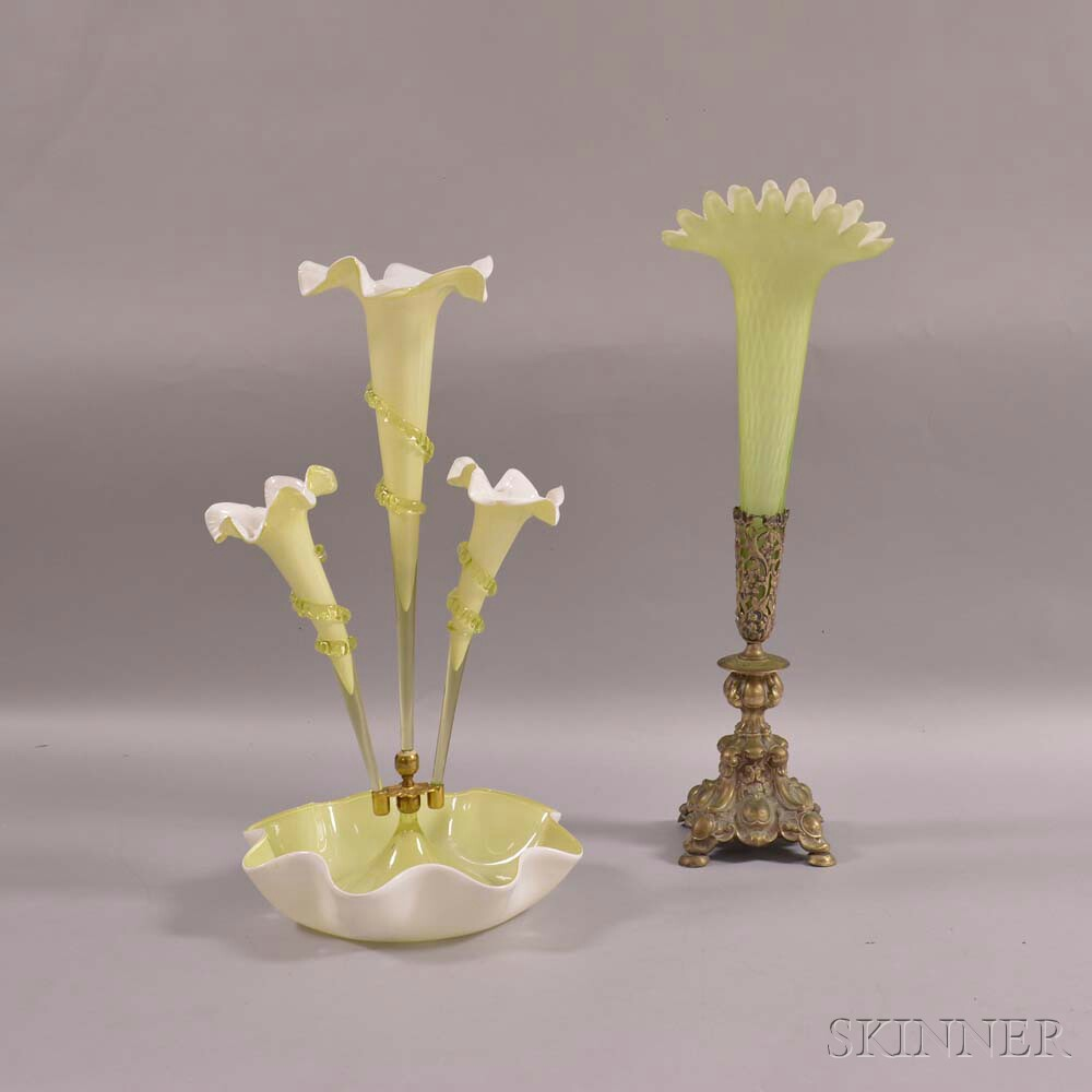 Cased Green Glass Epergne and a Silver-plate-mounted Quilted Glass Vase
