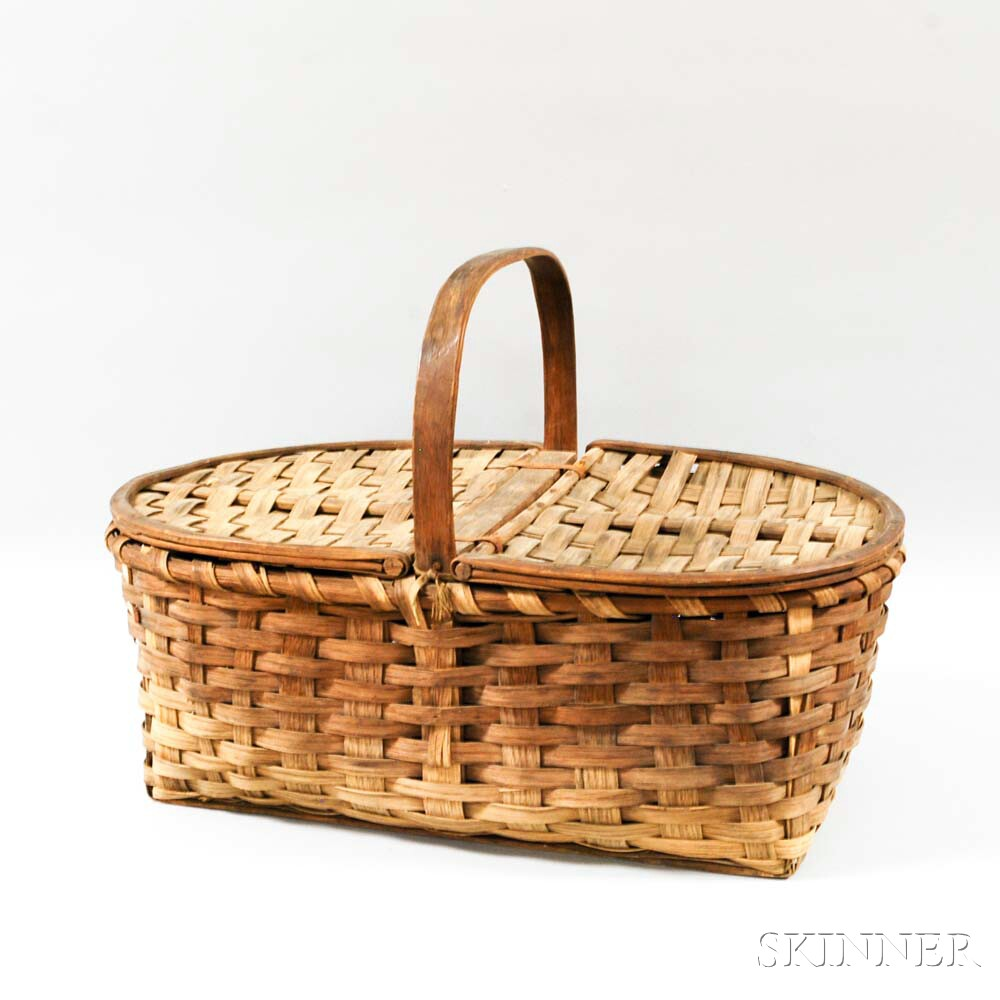 Large Woven Splint Lidded Gathering Basket