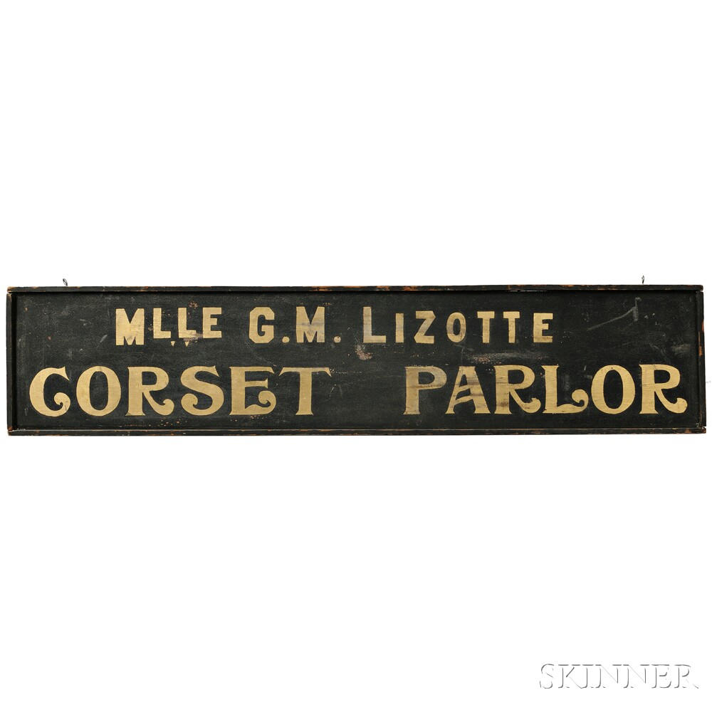 """Black-painted and Gilt """"MLLE G.M. LIZOTTE CORSET PARLOR"""" Trade Sign"""