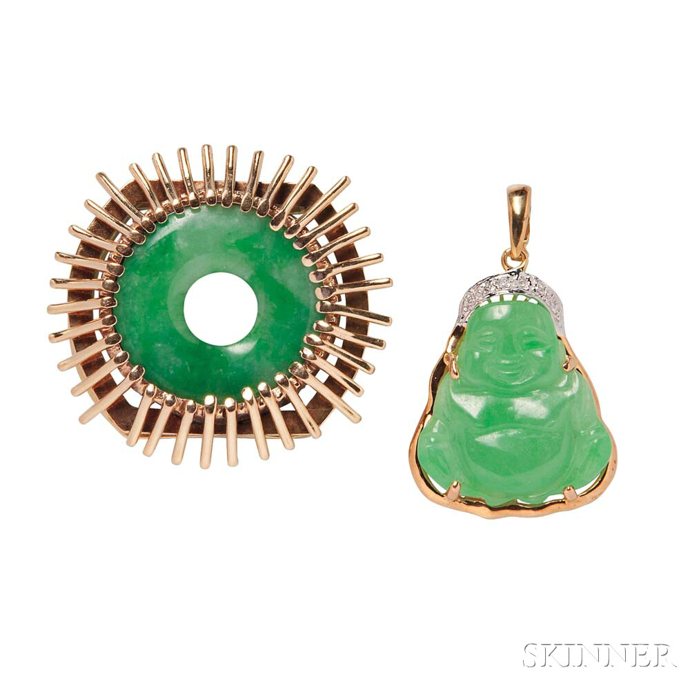 Two 14kt Gold and Jade Pendants
