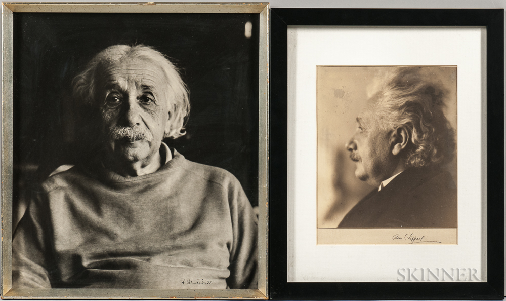 Einstein, Albert (1879-1955) Two Photographic Portraits.