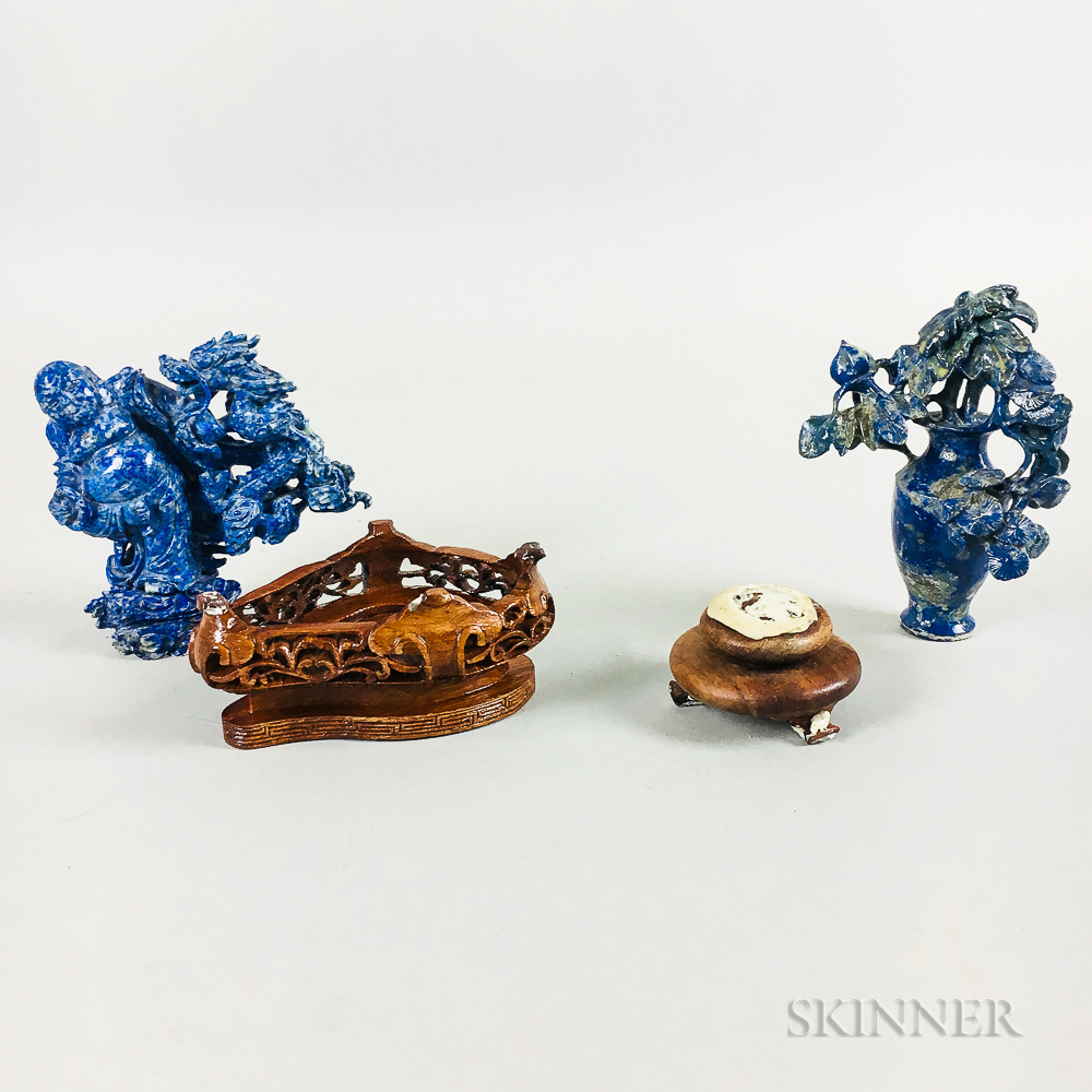 Two Boxed Chinese Lapis Carvings on Stands
