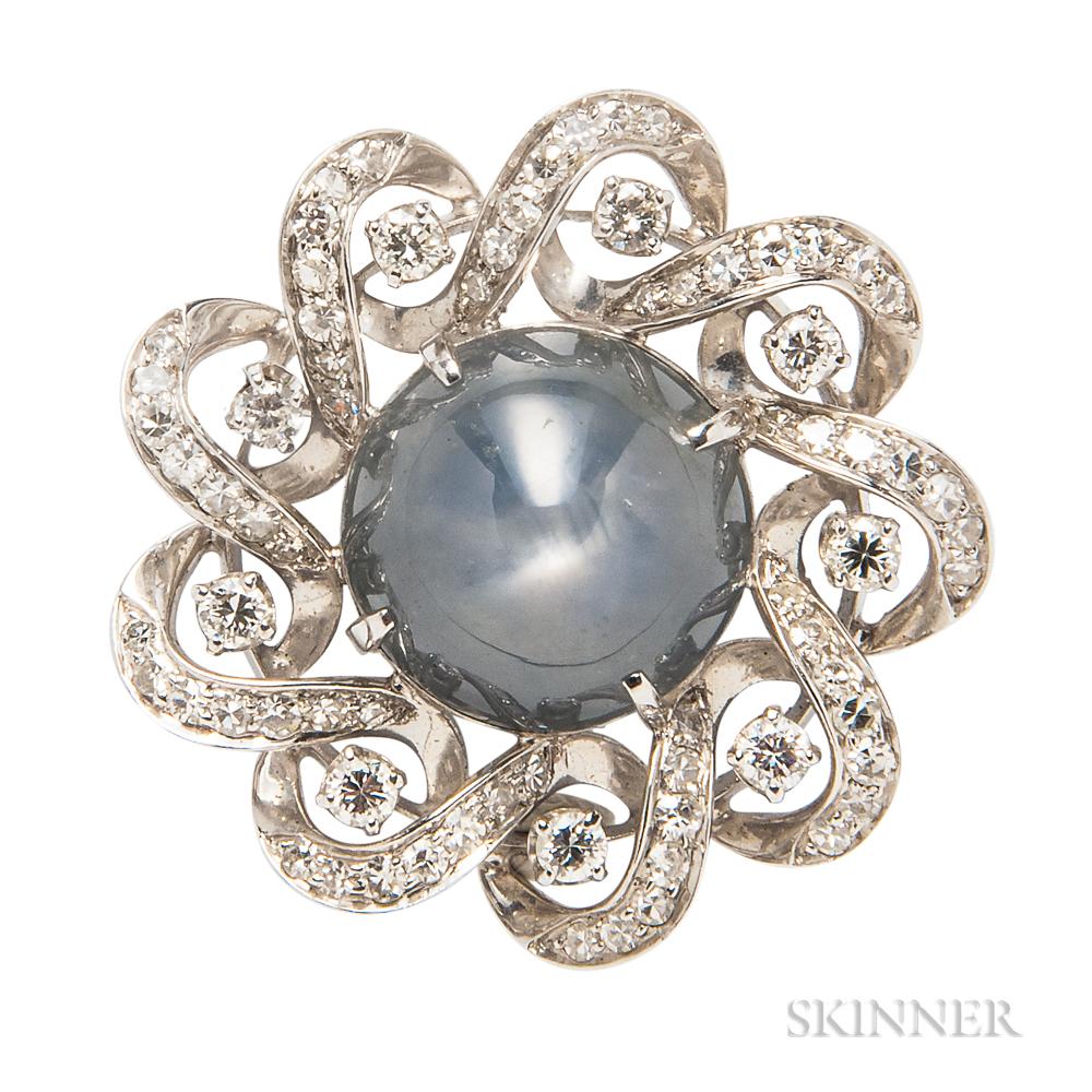 Star Sapphire and Diamond Brooch