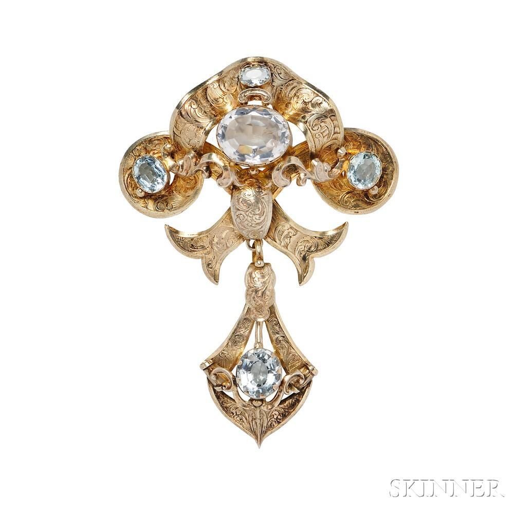 Gold and Aquamarine Brooch