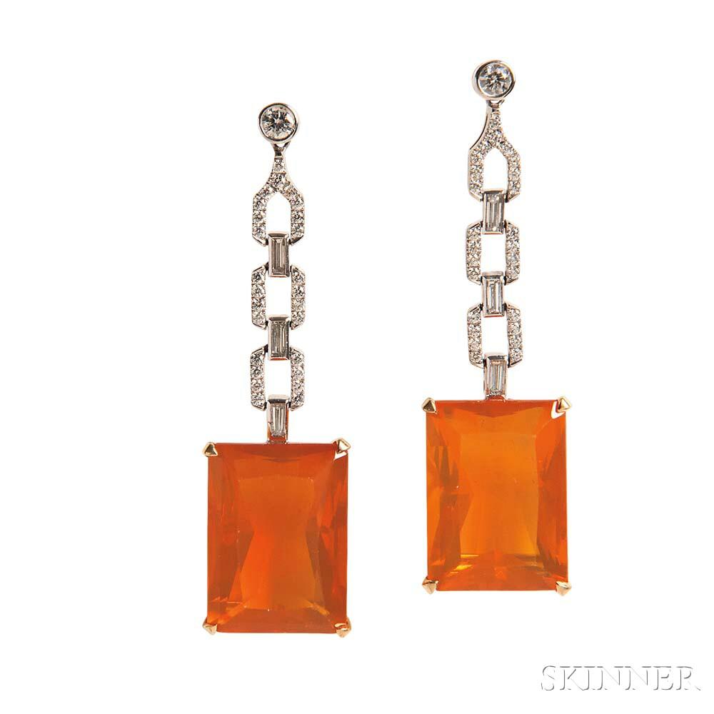 Fire Opal and Diamond Earrings