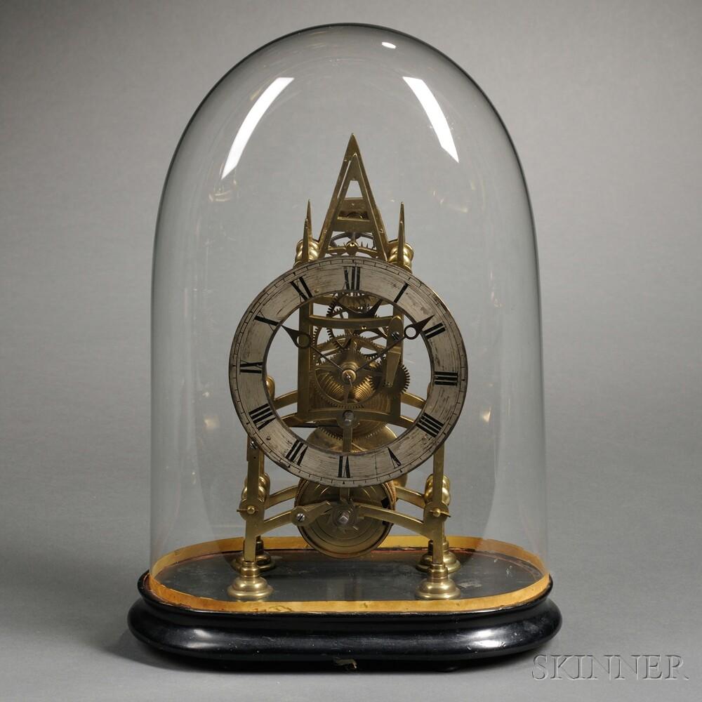 English Gothic-style Skeleton Clock