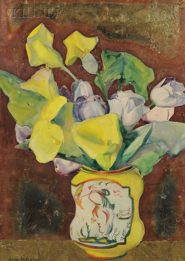 Jane Peterson (American, 1876-1965)      Still Life with Calla Lilies