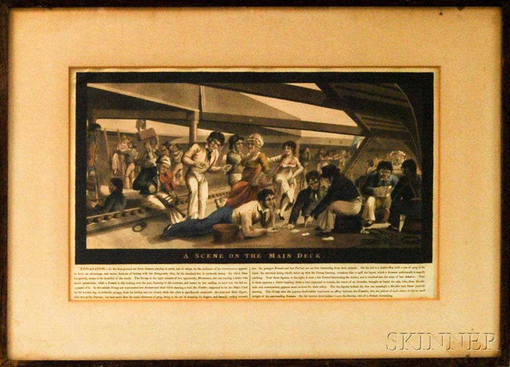 Framed M. Jenkins Colored Aquatint A Scene on the Main Deck