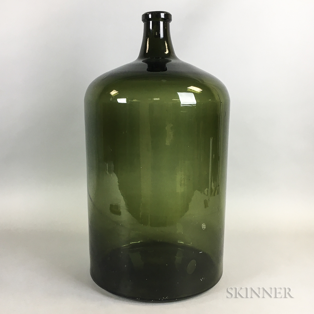 Large Cylindrical Green Glass Bottle