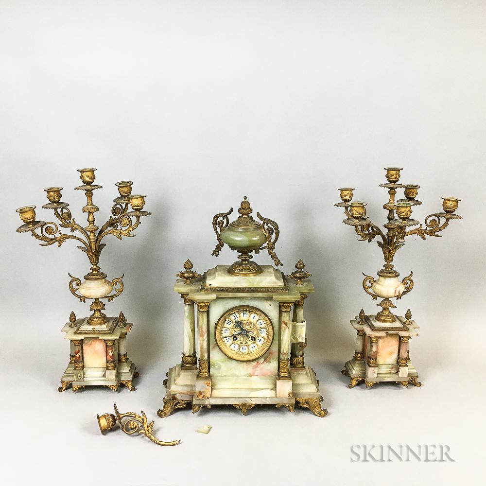 French Three-piece Ormolu-mounted Onyx Garniture Set