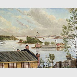 Canadian/American School, 19th Century  Busy Harbor Scene with Sloops and Steamer Flying a Tricolor Flag.