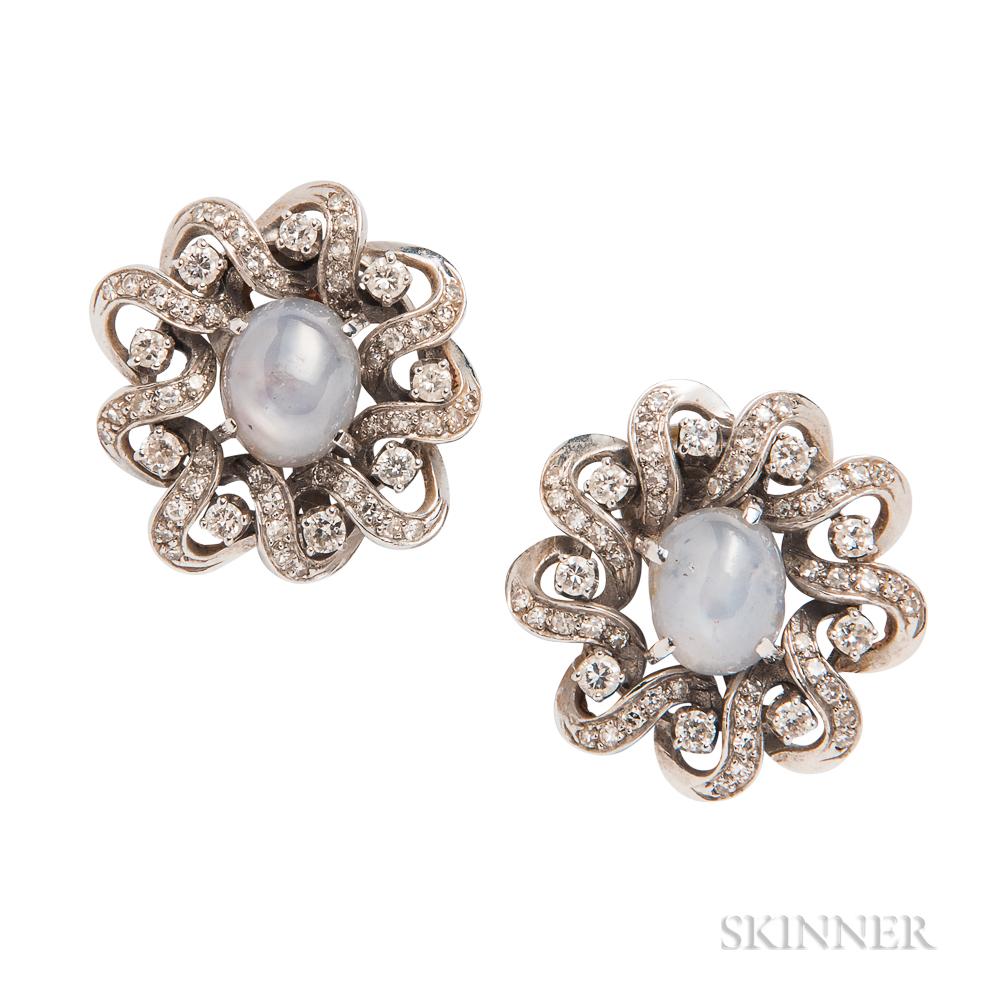 Star Sapphire and Diamond Earclips