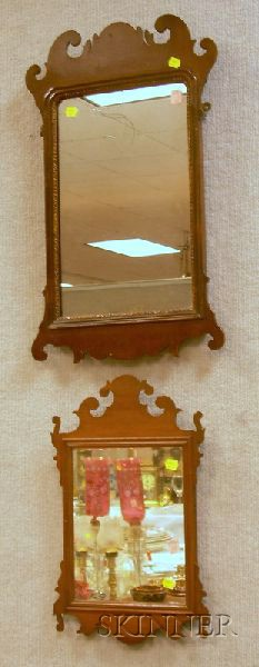 Two Chippendale-style Mahogany Veneer Mirrors.