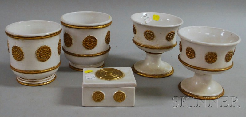 Five Ugo Zaccagnini Gilt and White Glazed Ceramic Table Items