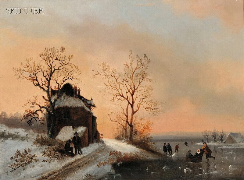 Dutch School, 19th Century      Twilight Winter Landscape with Skaters