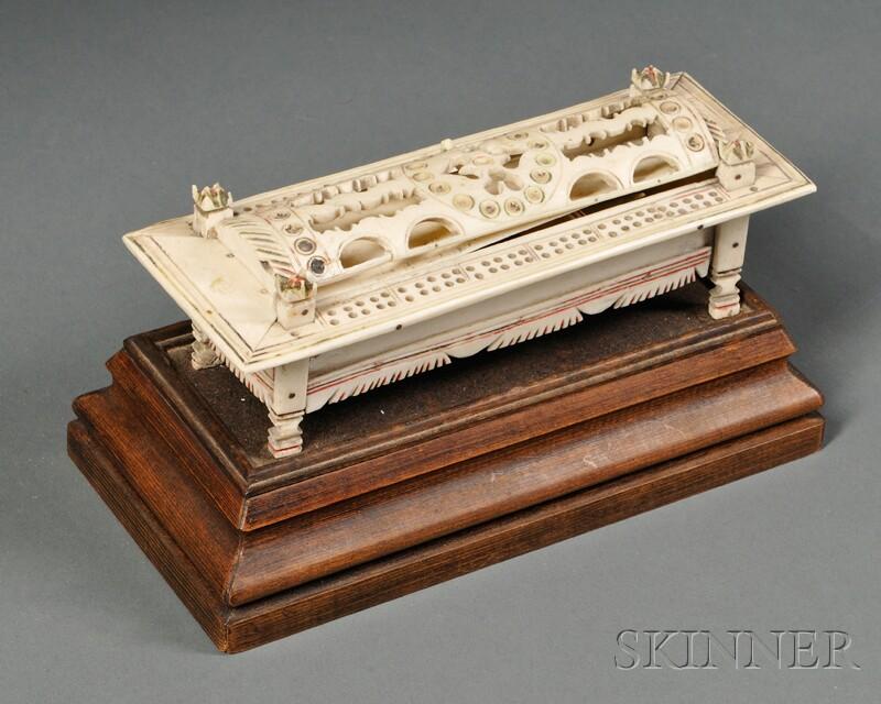 Napoleonic Prisoner of War Carved Bone Games Box