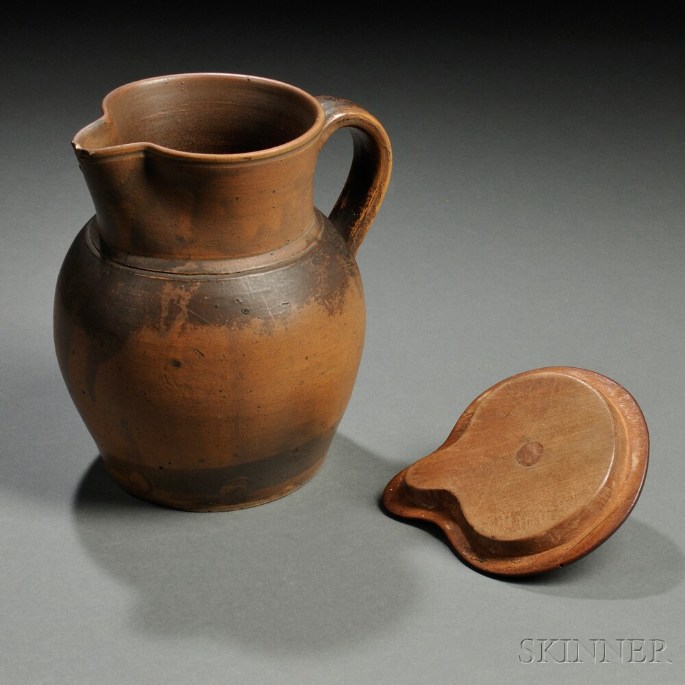Stoneware Pitcher with Shaker-made Wooden Cover