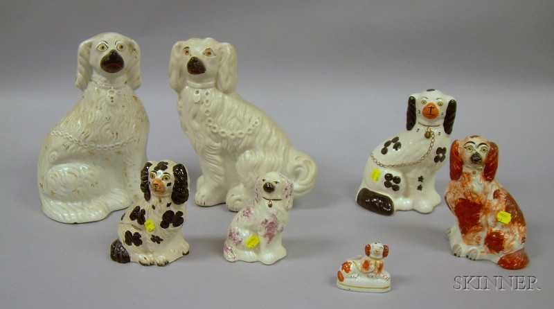Seven Assorted English Staffordshire King Charles Spaniels