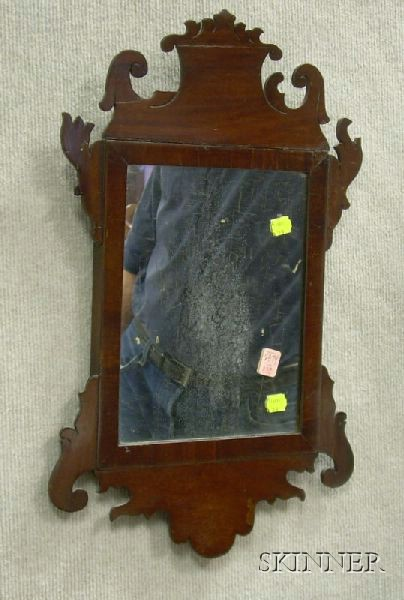 Chippendale Mahogany and Mahogany Veneer Mirror.