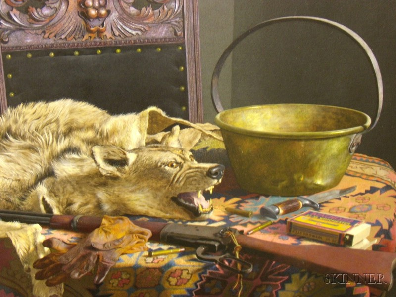 John F. Bazadona (American, 1948-2000)      Hunting  /Still Life with Wolf Hide