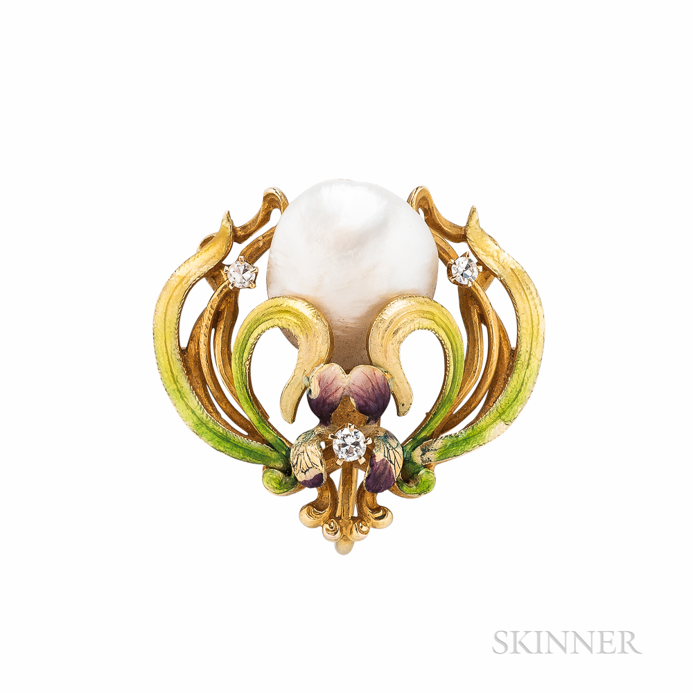 Art Nouveau 14kt Gold, Freshwater Pearl, and Enamel Pendant/Brooch, Krementz & Co.