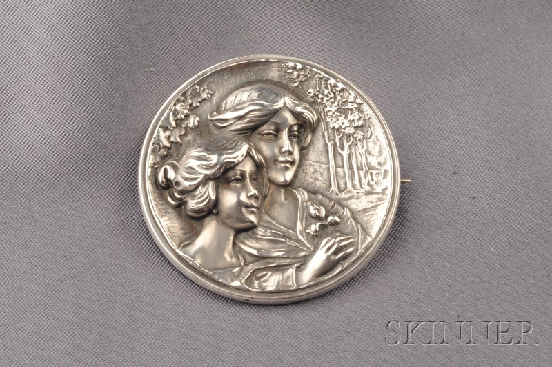Art Nouveau Sterling Silver Brooch, William Link