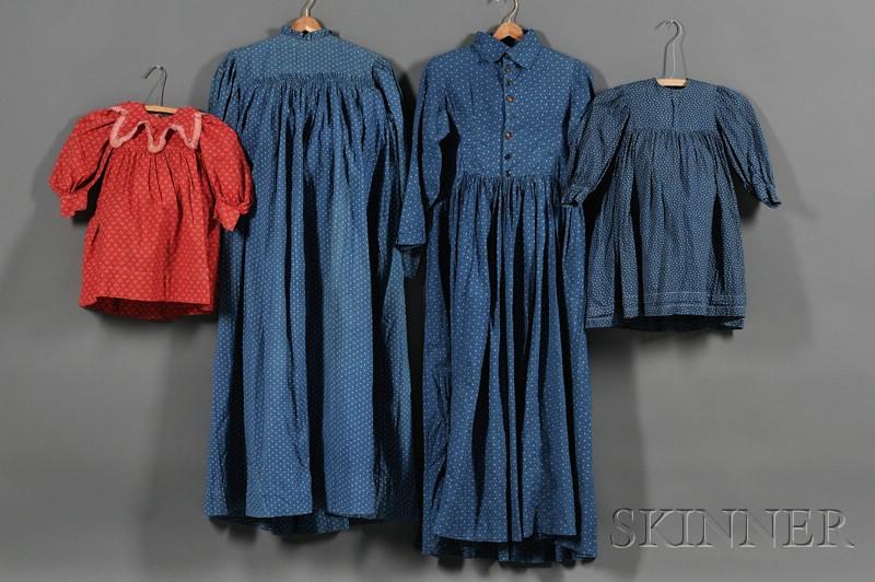 Four Handmade Printed Cotton Dresses