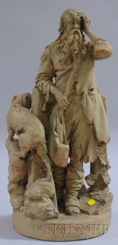 Painted John Rogers Plaster Figural Group Rip Van Winkle Returned