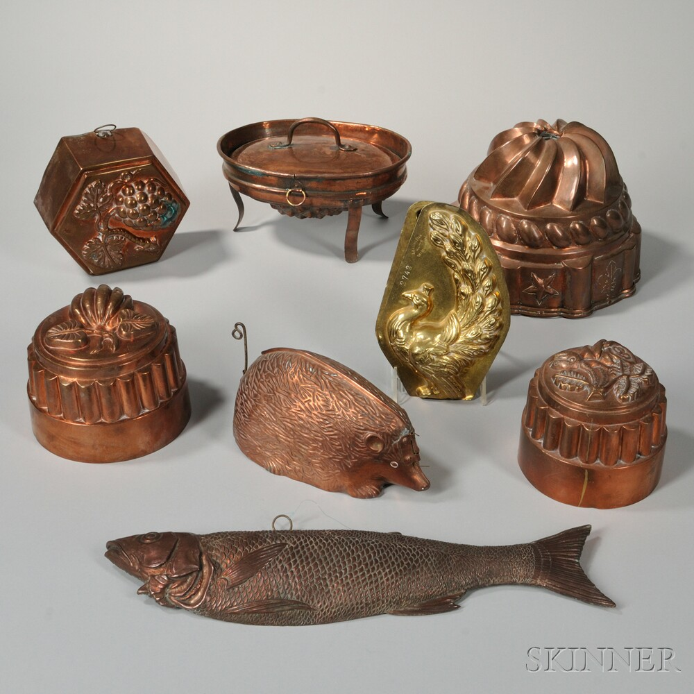 Eight Copper and Brass Food Molds