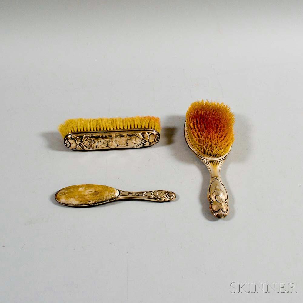 English Sterling Silver Three-piece Vanity Set