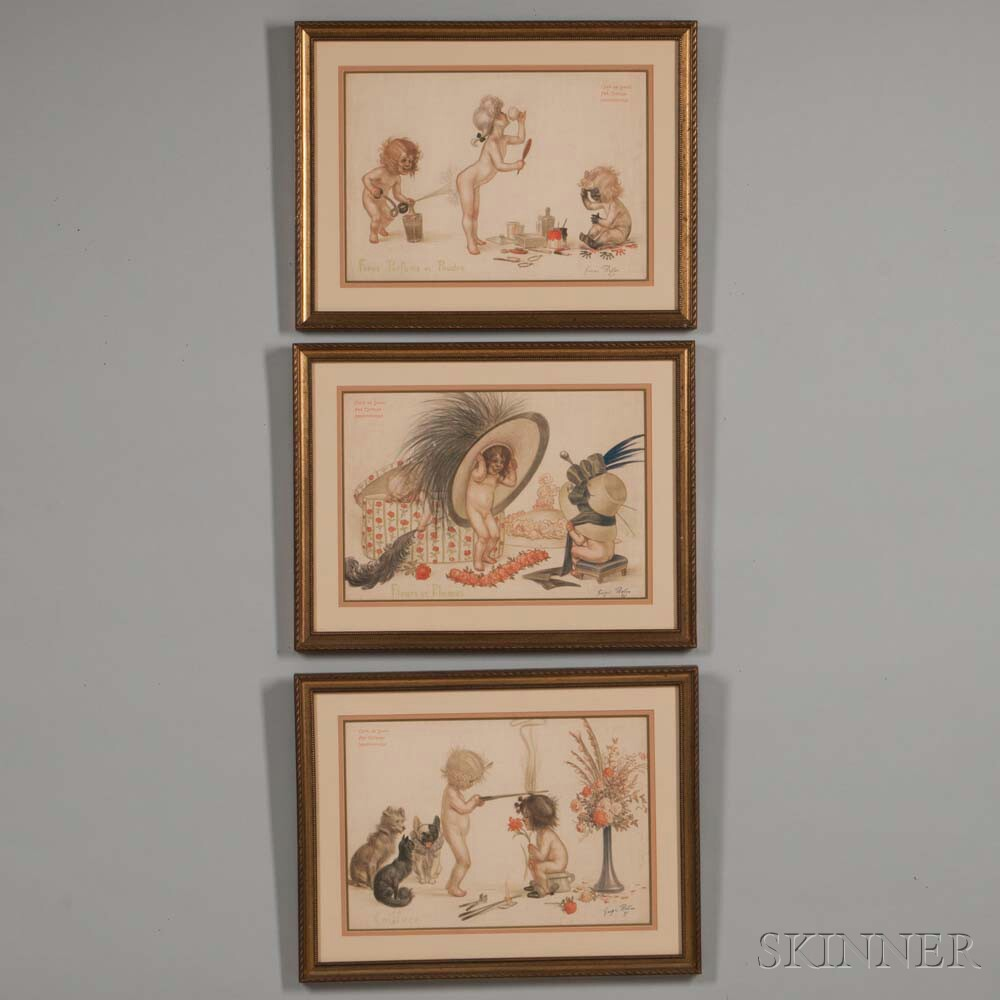 Three Framed French Prints After Georges Redon