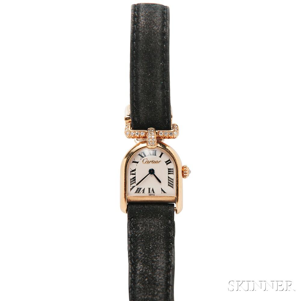 """18kt Gold and Diamond """"Calandre""""Wristwatch, Cartier"""