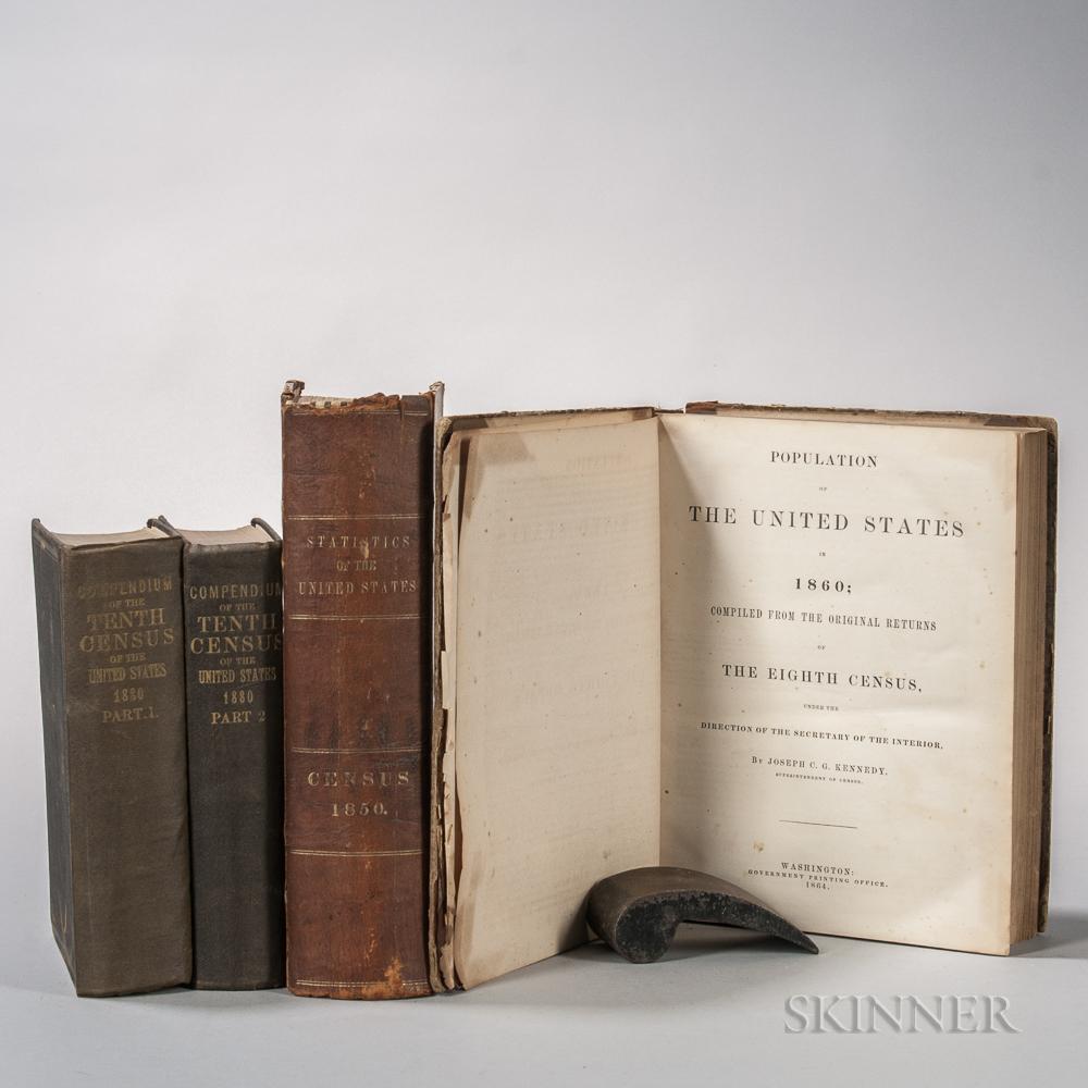 American Census, Four Volumes, 19th Century.