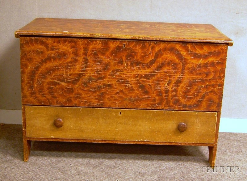 Putty-painted Blanket Chest over Long Drawer.
