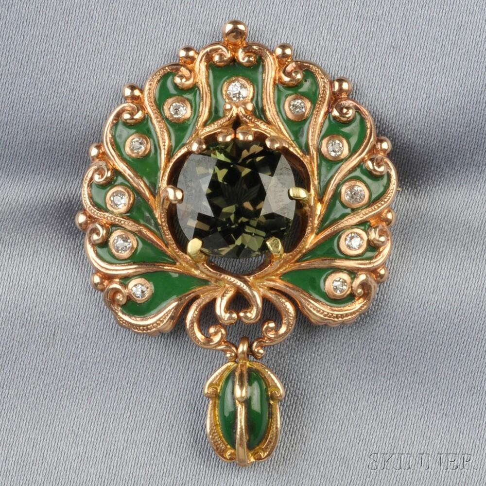 Art Nouveau 18kt Rose Gold And Alexandrite Pendant Brooch
