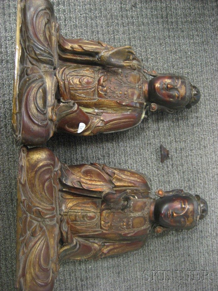 Pair of Gilt-lacquered Wood Buddha