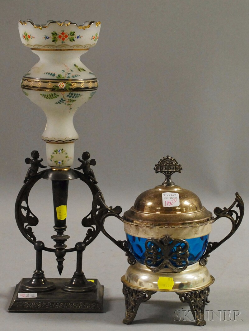 Two Victorian Aesthetic Silver-plated and Art Glass Table Items