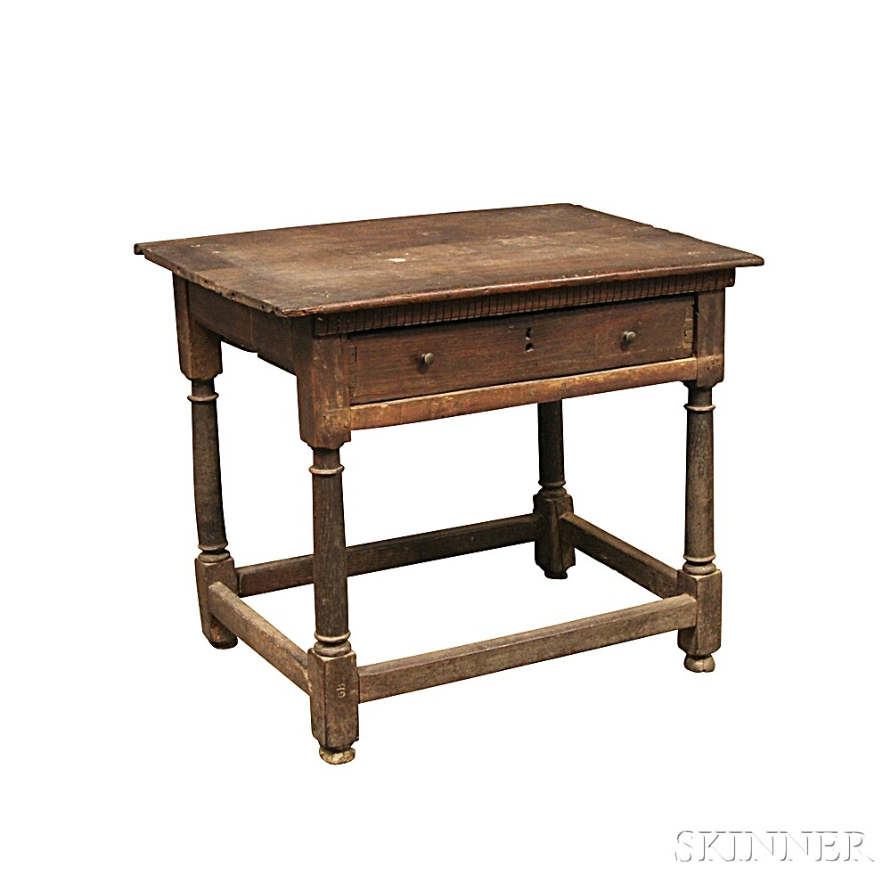 Jacobean Oak One-drawer Stretcher-base Table