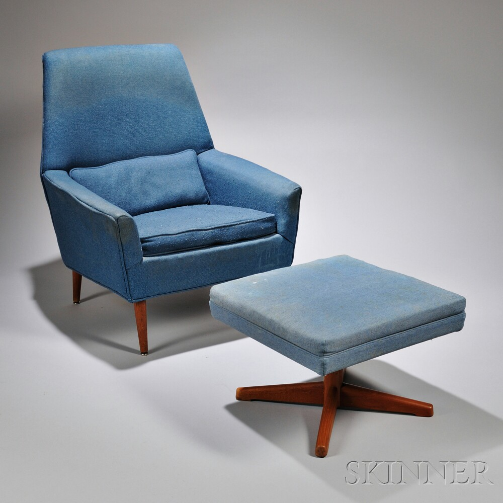 Dux Upholstered Hardwood Armchair and Ottoman