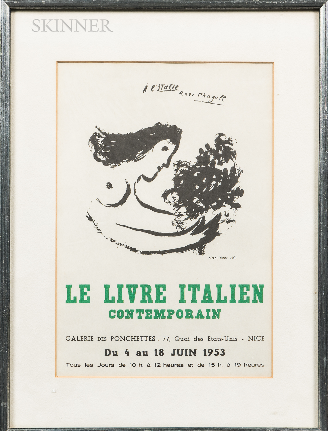 After Marc Chagall (Russian/French, 1887-1985) Le Livre Italien Contemporain, 1953 Exhibition Poster from Galerie des Ponchettes, Nice.