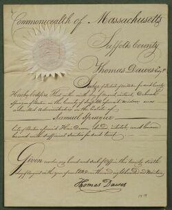Dawes, Thomas Signed Document Appointing Samuel Sprague an administrator, 1819.