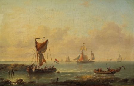 Louis Charles Verboeckhoven (Belgian, 1802-1889)    Sea View Am Dort