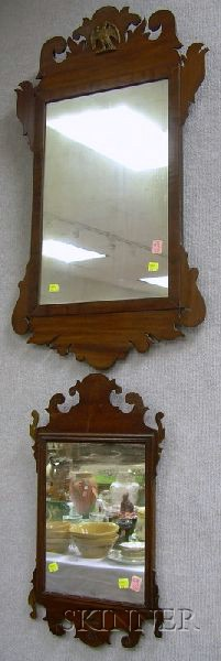 Two Chippendale-style Mahogany and Mahogany Veneer Mirrors.