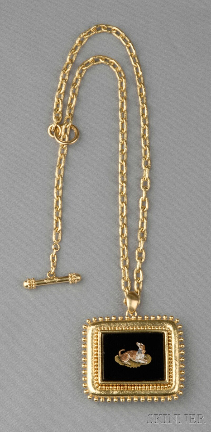 18kt Gold and Micromosaic Pendant/Brooch and Chain, Elizabeth Locke