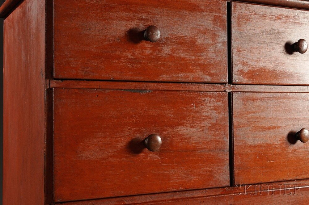 Shaker Red/Orange-stained Pine Case of Drawers