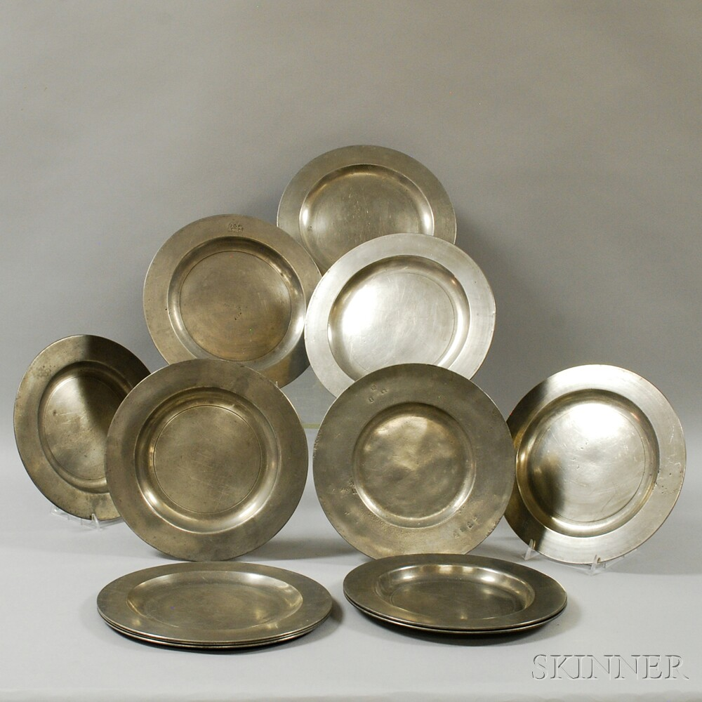 Set of Six Thomas Groce Pewter Plates and Six Others