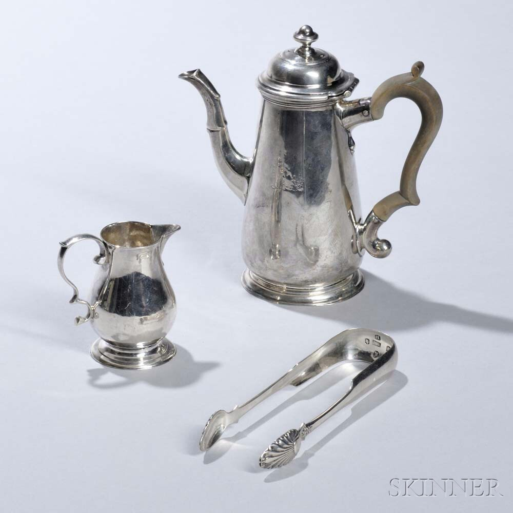 Two Pieces of George II Sterling Silver Teaware