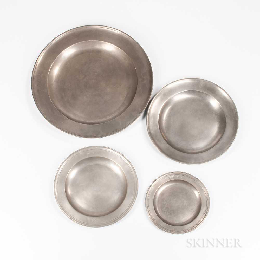 Four Early English Pewter Chargers/Plates