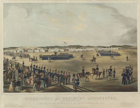 Tappan & Bradford lithographers and publishers (Boston, 19th Century)  ENCAMPMENT AT NEPONSET-DORCHESTER, AUG. 8th & 9th 1849..