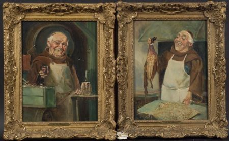 British School, 20th Century    Lot of Two Genre Scenes with Monks:  A Fine Pheasant for Supper